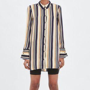 ZARA Long stripe blouse top
